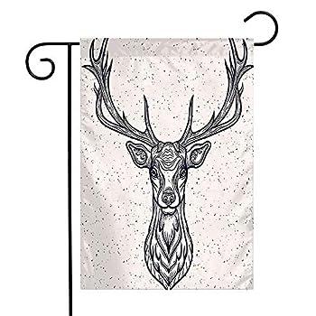 Pansyhome Welcome Garden Flag Vertical Whitetail Horned Deer Graphic Head Texture White Design Rack Animals Tattoo Wild Wildlife Vintage Yard Outdoor Decorative 12 x 18 Inch