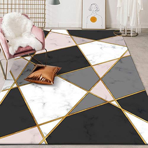 Rug Modernas Dormitorio Sala de Estar Antideslizante Mat Durable Fácil Mantenimiento Patrón de mármol de imitación geométrico Blanco Negro Rosa 140X200CM(4.6ft x 6.5ft)