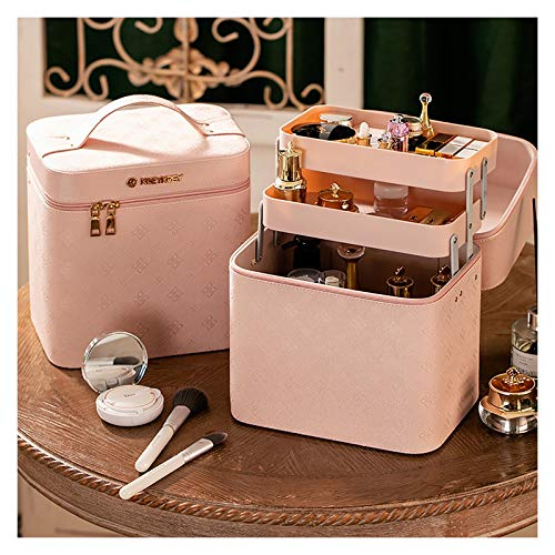 YouLpoet Multifunction Travel Cosmetic Bag,Portable Train Makeup Organizer Case, Earrings And Necklace Storage Display Box,Foldable Cosmetic Case Cosmetic Brush Cosmetic Accessories,Pink