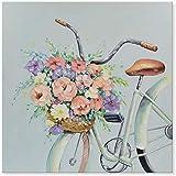 DRTWE Pintura,Resumen Único Hermosas Flores En La Bicicleta Pintado A Mano Pintura Al Óleo Arte Moderno De La Pared para La Sala De Estar Oficina Pared Decorativa, 90X90Cm Sin Marco