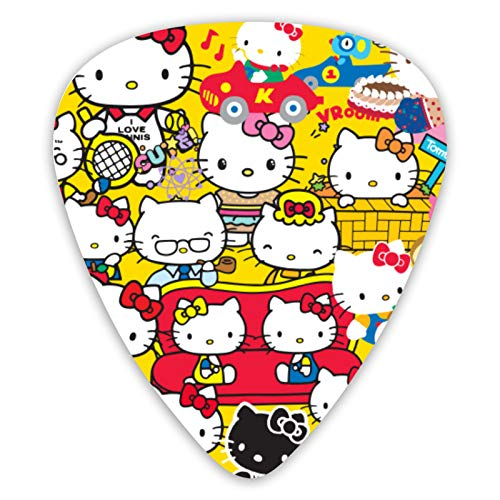 VOROY Anime Multiple Shapes Of Hello-Kitty Guitar Picks(12 Pieces In A Set)Environmental Abs With Box Guitar Pick 0.96mm Thickness For Acoustic Guitars Gift For Girlfriend