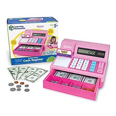 Learning Resources Pretend & Play Calculator Cash Register, Classic Counting Toy, 73 Pieces, Ages 3+, Easter Gifts for Kids, Pink by Learning Resources
