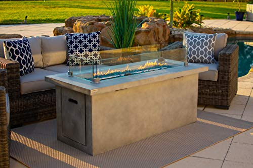 60' Rectangular Chat Height Outdoor Propane Gas Fire Pit Table in Gray (60' Gray, Caribbean Blue)