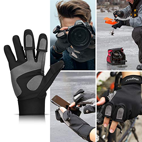 Magreel Fishing Gloves for Men and Women Water Repellent Windproof Gloves Flexible 3 Cut Fingers for Fly Fishing Photography Motorcycling Shooting Cycling Hiking Hunting
