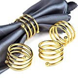 Jofefe 6Pcs Gold Napkin Rings Round Napkin Holders Buckles for Wedding, Dinner Party, Tabl...