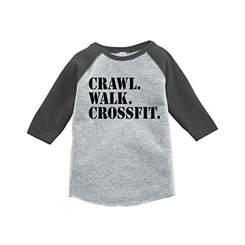 7 ate 9 Apparel Kids Crawl Walk Crossfit Grey Baseball Tee 2T