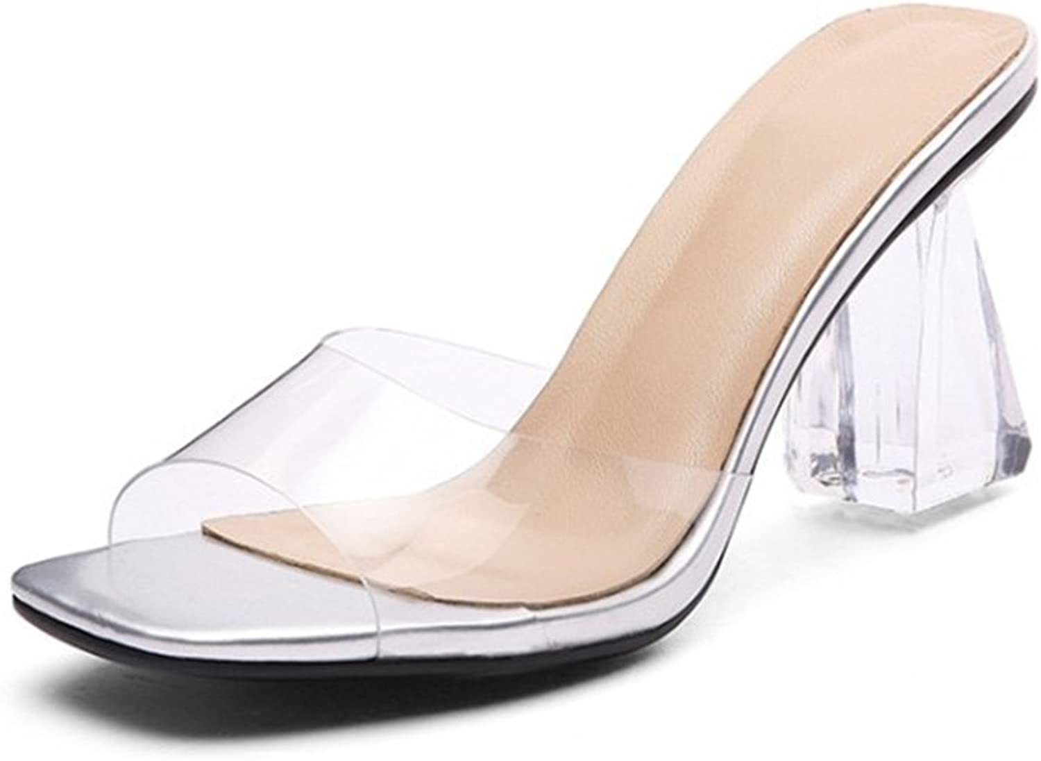 Exing Women's shoes PVC(Polyvinyl Chloride) Summer Fall Rough Heel shoes Fashion Crystal Square Head Sandals Slipper for Office & Career Dress