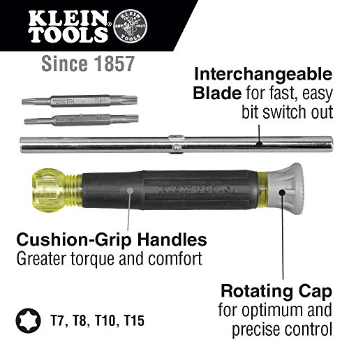 Klein Tools 32585 Multi-bit Precision Screwdriver Set, 4-in-1 Electronics Screwdriver with Industrial Strength Torx Bits, Spin Top