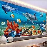 mazhant Papel tapiz mural 3D personalizado para niños, papel de pared de pez delfín submarino, fondo de pared de acuario, decoración de habitación, ropa de cama para niños-400X280cm