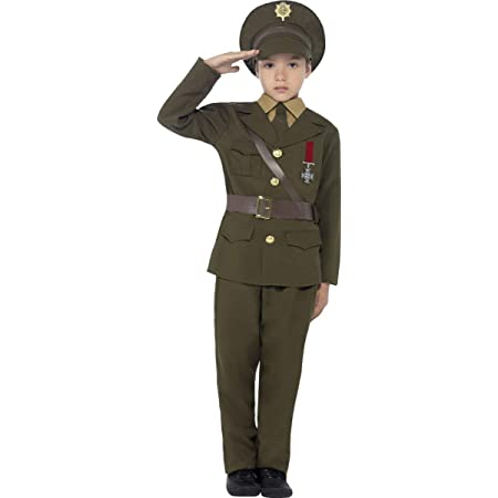 Smiffy's Children's Army Officer Costume, Jacket, Belt, Trousers, Hat, Mock Shirt & Tie, Boys, Size:M, Colour: Green, 27536