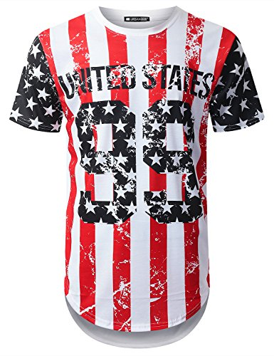 URBANTOPS Mens Hipster Hip Hop USA Flag Graphic Longline T-Shirt (Various Style)