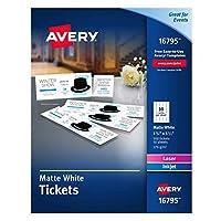 Avery ブランク 印刷可能 チケット、切り取り式スタブ 穴あきラッフルチケット 500 cards