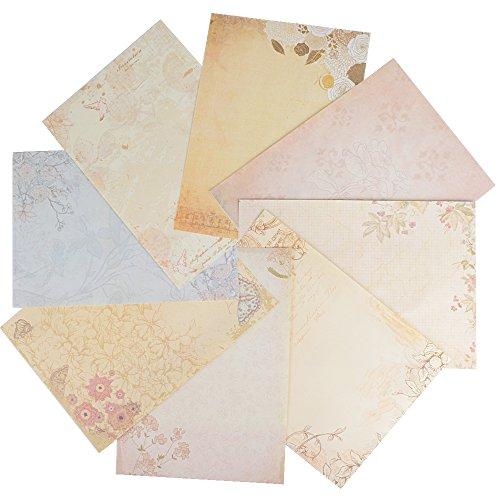 80 Stück Briefpapier Motivpapier Schreibpapier Set Vintage Retro Blumen altes Papier mit Motiv für Breif Einladung Umschlag (8 Muster, 10 Blatt pro Muster)