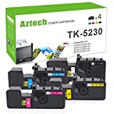Aztech 4 Packs Compatibile per TK5230 TK-5230 TK-5230K TK-5230C TK-5230M TK-5230Y TK5220 TK-5220 per Ecosys M5521cdn M5521cdw P5021cdn P5021cdw (Nero 2600 Pages, Colore-2200 Pages)