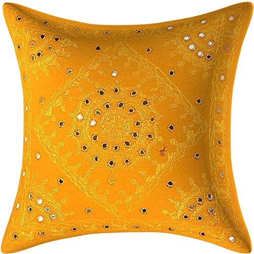 Indian Decorative Cushion Cover Cotton Handmade Embroidered Sequin Pillow Case Ethnic Flowers Cotton Kantha Sham Decor 5 PCS (20'' x 20'')