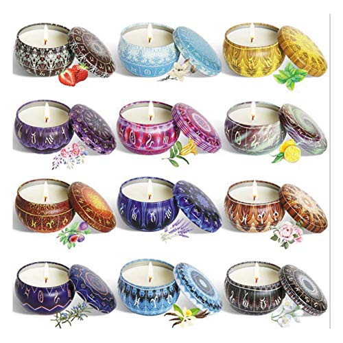 BTEX Candle Set Gift Box Aromatherapy Candle Added Plant Essential Oil Smokeless 12 Constellation Series