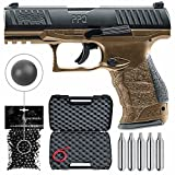 T4E .43cal Walther PPQ LE Paintball Pistol Law Enforcement Trainer with Included 5x12 Gram CO2 Tanks and Pack of 500 .43 Cal Reusable Rubber Balls Bundle (Black/FDE)