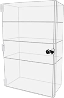 Marketing Holders Security Locking Case Bakery Pastry Cabinet Display with Lock and 2 Keys Acrylic Jewelry Show Case Stand 3 Shelf Cabinet 12