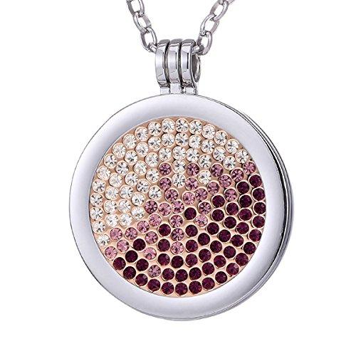 Morella Damen Halskette 70 cm Edelstahl und Anhänger mit Coin Zirkoniasteine violett-rosa-Silber 33 mm im Schmuckbeutel