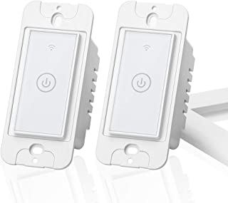 meross Smart Wi-Fi Wall Light Switch, Amazon Alexa and Google Assistant Supported, Remote Control, Timing Function, Fit for US/CA, No Hub Needed, White (2 Pack), 2