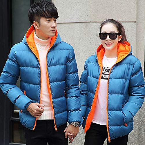 Beautymade Jackets Men Winter Casual Outwear Windbreaker Hooded Overcoats Plus Size Blueorange