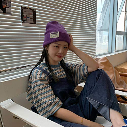 BAJSKD Gorros Sombreros Otoño Invierno Mujeres Hombres Parche Orejas Cráneo Cap Colorido Punto Bonnets-Púrpura_One_Size