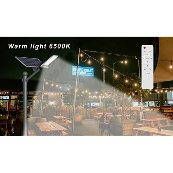 Solar Street Lights Outdoor 300W LED Dusk to Dawn Security Flood Light Motion Sensor with Remote Control Dual Color…