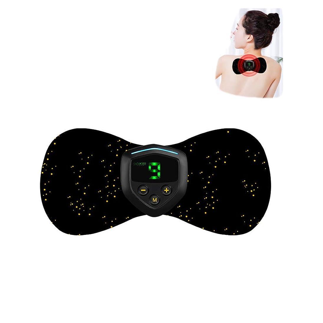 頑丈飢饉解明最も快適なミニスマートマッサージステッカーEMS電気療法器具の肩、首の肩のマッサージ,Black