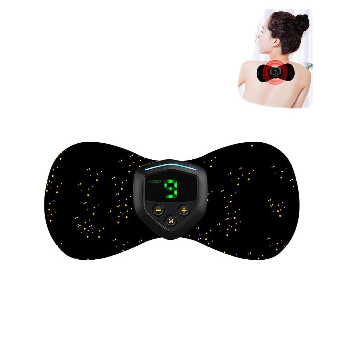 負荷大いにプレフィックス最も快適なミニスマートマッサージステッカーEMS電気療法器具の肩、首の肩のマッサージ,Black