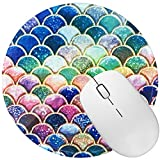 Non Slip Rubber Mouse Pad Beautiful Pattern Desktop 7.9in X7.9in Small Size Computer PC Round Mouse Mat (Beautiful Mermaid)