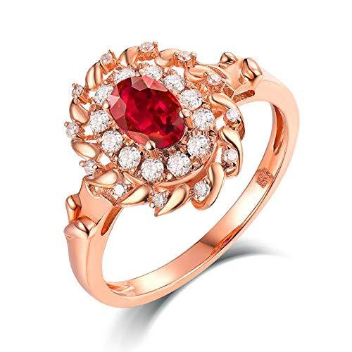 Daesar Anillo Oro Rosa 18K Mujer,Flor Oval Rubí Rojo 0.549ct Diamante 0.23ct,Oro Rosa y Rojo Talla 22