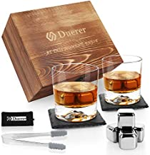 Duerer Whiskey Stones Set, 2 Whiskey Glasses, 8 Reusable Stainless Steel Ice Cubes in Wooden Box, Great Gift for Father's Day, Dad's Birthday or Anytime For Dad, Plus 2 Free Coasters