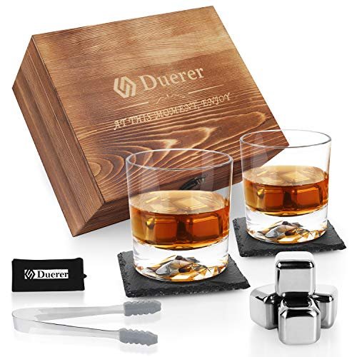Duerer Whisky Steine Geschenkset mit Whisky Gläser, 8 kühlen Edelstahl-Eiswürfeln in Holzkiste, Geschenk für Männer Papa Freund Geburtstag oder Jubiläum - Plus 2 kostenlose Untersetzer
