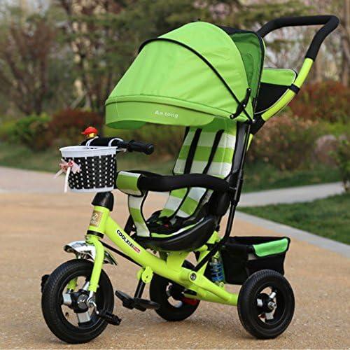 Unbekannt Great Kinder-Dreirad Falten S lings-Spielwaren-fürrad-Kinderwagen-fürrad 1-3-5 Einjahreskind-fürrad-Aluminiumlegierung-Titan-Reifen Bunte Gewebe-Markise (Energy A++)