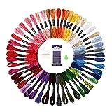 zhibeisai 50 Colores Bordados de Hilos de Seda de Agujas Bobinas Set Cruz Cadena Pulsera de la Amistad de la Puntada Cable Kit de Color al Azar