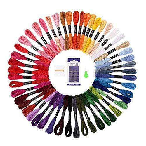 rongweiwang 50 Colores Bordados de Hilos de Seda Bobinas Agujas Conjunto Amistad Amistad Pulsera de Hilo Cruz Cadena Pulsera Kit de Punto de Cable Kit de Color al Azar