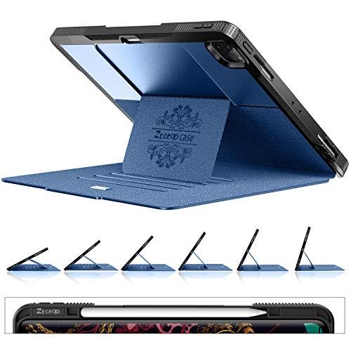 Ztotops Mehrfachwinkel Hülle für iPad 12.9 4th Gen 2020/3th Gen 2018, Magnetisch Schutzhülle mit Stifthalter,Stoßfest Sturzfest Hülle,Automatischem Schlaf/Aufwach, für iPad Pro 12,9 Zoll 2020, Blau