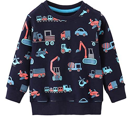 EULLA Sudadera para niño de algodón Activewear 92-122, 1-7 años, 3# Dark Blue Traktor, Tamaño de la cintura:100-105 cm