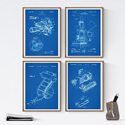Nacnic Set de Laminas de Patentes de Fotografia 250 gr A4 Size - Azul