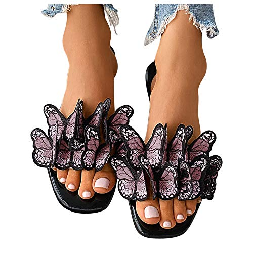 Briskorry Sandales plates d'été pour femme - Avec nœud coloré - Confortables - Beige - Taille Unique