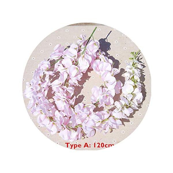 120cm Long Artificial Wisteria Flower Vine Silk Hydrangea Rattan DIY Wedding Birthday Party Decoration Wall Backdrop Flowers,Type A Pink1 120cm