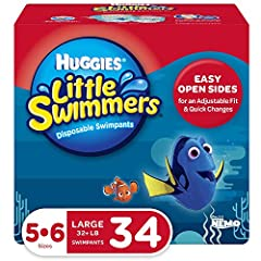 Huggies Little Swimmers disposable swim diapers size 5-6 fit babies 32+ lb. (14+ kg) Designed for swimming with unique absorbent material that won't swell in water like regular diapers Double Leak Guards fit snugly around baby's legs to help contain ...