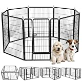 Dog Exercise Pen kennel 8-panels Pet Fence 40 Inches Heavy Duty Folding Puppy Playpen with Door, Extra Large Indoor Outdoor Portable Iron Pet Dog Playpen Crate Cag for Small-Medium Dogs Rabbits