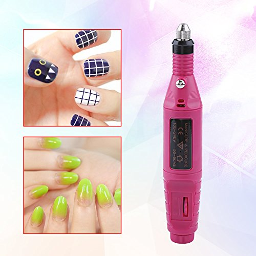Electric Nail Drill Bits Set, Electric Nail Drill Professional Efile Nail Drill Kit For Acrylic, Gel Nails, Manicure Pedicure Polishing Shape Tools with 6Pcs Nail Drill Bits and 56 Sanding Bands