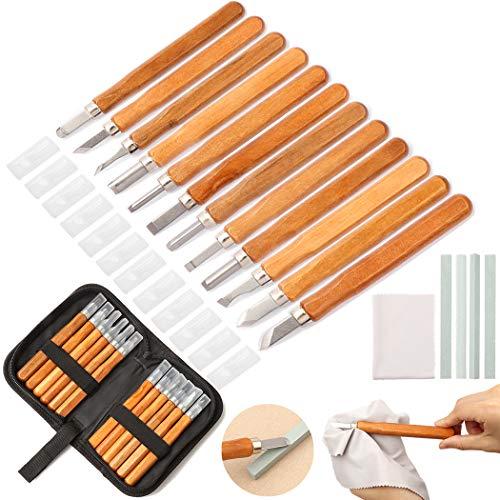 Holz-Schnitzwerkzeug Set, LICQIC 12 stück Holz-Schnitzmesser und ein Schleifsteine, für Holz, Obst, Gemüse, Carving DIY, und Wax, Holzschnitzerei Messer für Anfänger