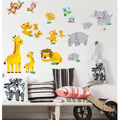 Preisvergleich Produktbild xsongue Dschungeltier Löwenaffe Elefanten Zoo Wandaufkleber Für Kinderzimmer Vinyl Aufkleber