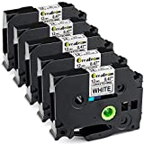 Greateam Compatible Label Tape Replacement for Brother P-Touch TZe TZ Tape 12mm 0.47' Laminated White TZe-231 TZ-231, 1/2' Ptouch Label Maker Tape Use for Brother PT-D210 PT-H110 PT-D400 PTD600, 5PK