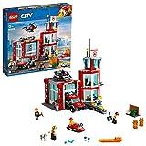 LEGO City Fire - Parque de Bomberos, estación de juguete para construir, incluye camión, moto acuática y dron (60215)
