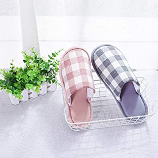 Cotton Slippers Spring and Autumn Indoor Men and Women Non-Slip Non-Slip Non-Injury Floor Mopping Fresh Small Lattice Couple Household Cotton mop