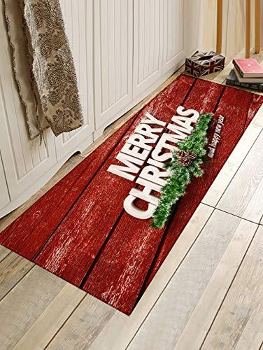 WIVION Weihnachtsmatte Outdoor Teppich Fußmatte Santa Ornament Weihnachtsdekoration Für Zuhause Weihnachten Neujahrsgeschenk 3D Home Badezimmer Rutschfester Teppich,D,50x80cm(20x31inch)